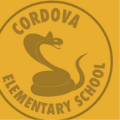 Gold snake mascot with the Cordova Elementary School name around it