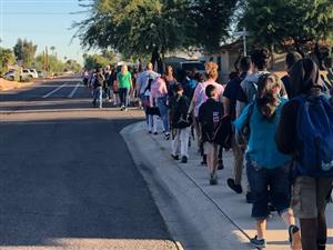 Cordova families walking to school!