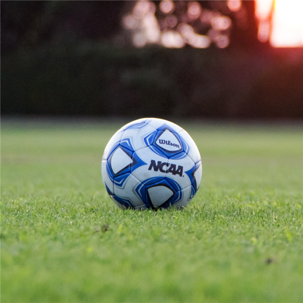 Soccer ball on the green grass with the sun setting in the background.