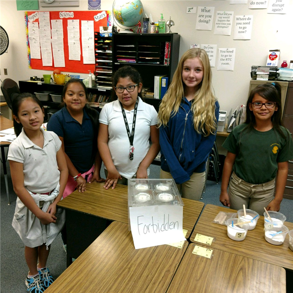 5 girls standing behind a bin labeled forbidden. the jars in the bin have salt crystals for science