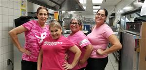 Staff and students wear pink to raise awareness for breast cancer.