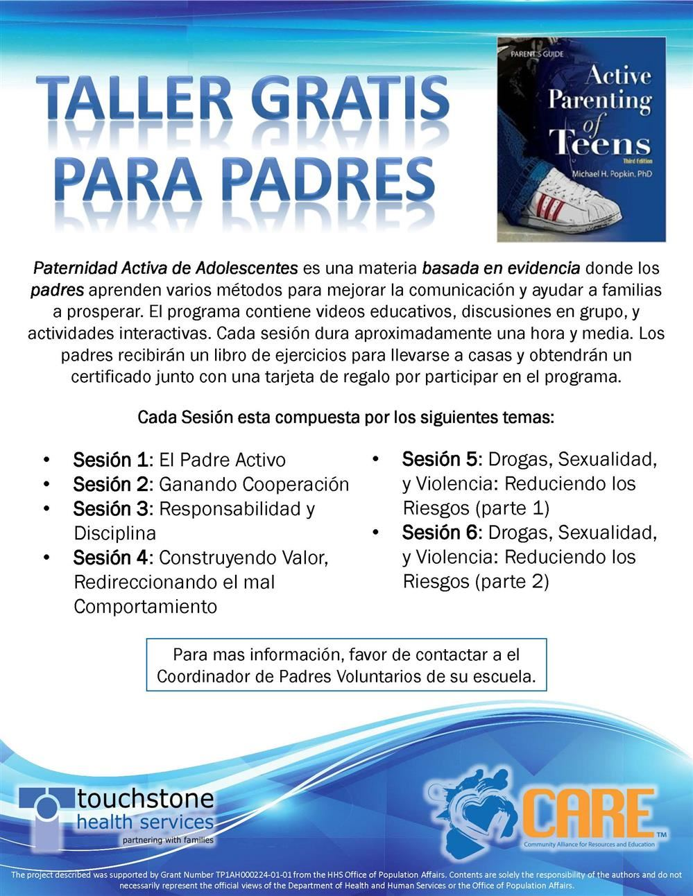 Active Parenting of Teens Parent Workshop Flyer Spanish