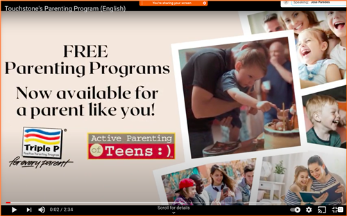 Touchstone's Parenting Program (English) youtube Video
