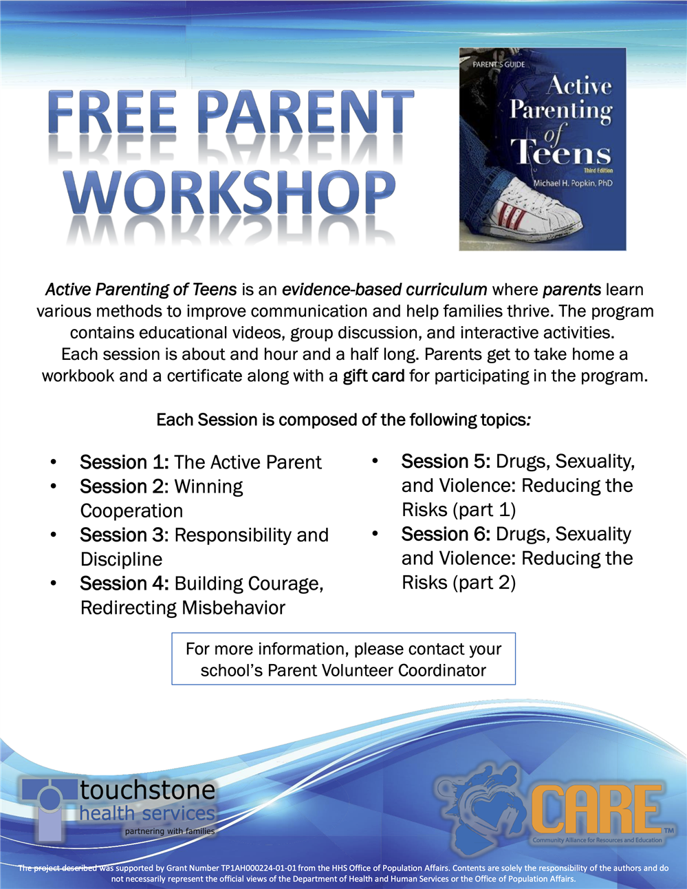 Active Parenting of Teens Parent Workshop Flyer