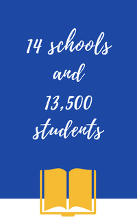 14 schools and 13,500 students
